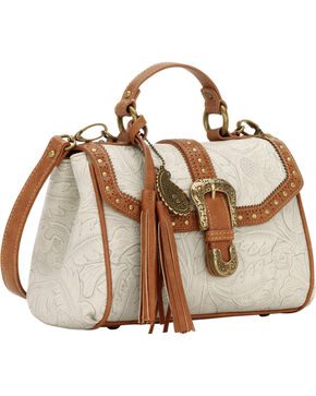 Bandana by American West Castle Rock Top Handle Convertible Flap Bag, Cream, hi-res