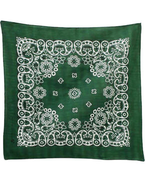 M & F Western Dark Green Paisley Print Bandana , No Color, hi-res