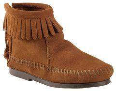 Minnetonka Girls' Suede with Fringe Back Zipper Moccasin Boots, , hi-res