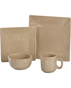 HiEnd Accents Savannah Taupe 16 Piece Dinnerware Set, , hi-res