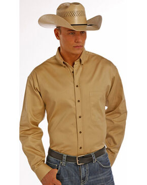 Panhandle Slim Men's Tan Solid Twill Shirt, Tan, hi-res