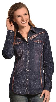 Crazy Cowboy Women's Glitz Western Snap Shirt, , hi-res