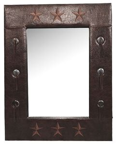 HiEnd Accents Faux Leather Star Mirror, , hi-res