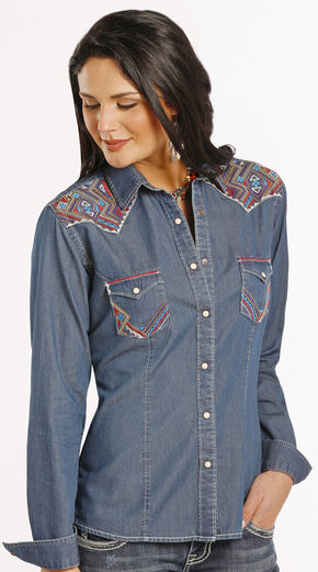 Rough Stock by Panhandle Slim Women's Carderock Chambray Western Shirt , Chambray, hi-res