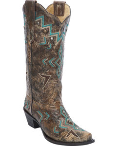 Corral Women's Embroidered Studded Cowgirl Boots  - Snip Toe, , hi-res