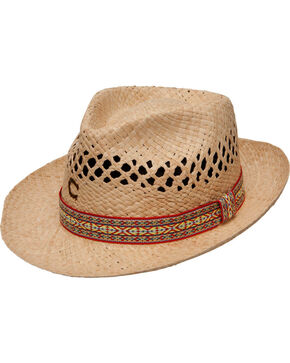 Charlie 1 Horse Women's Six String Straw Fedora Hat, Natural, hi-res