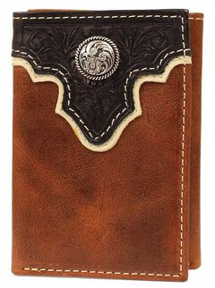 Ariat Two-Tone Tooled Overlay & Concho Tri-fold Wallet, , hi-res