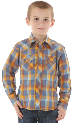 Wrangler Boys' Blue & Brown Western Jean Shirt, Blue, hi-res