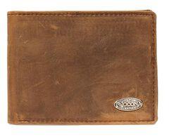 Nocona Logo Concho Leather Wallet, , hi-res