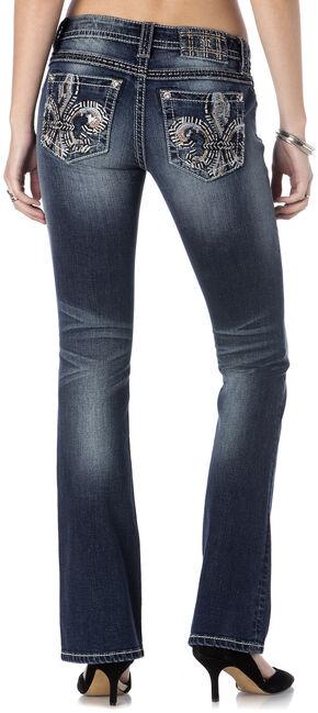 Miss Me Women's Fleur de Lis Bootcut Jeans - Extended Sizes, Indigo, hi-res