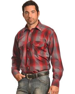 Crazy Cowboy Men's Red and Black Plaid Western Snap Shirt  , Red, hi-res