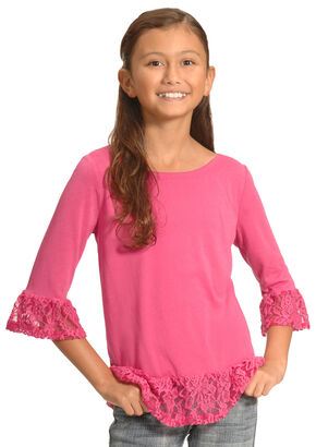 Derek Heart Girls' Pink Ruffle Top , Pink, hi-res