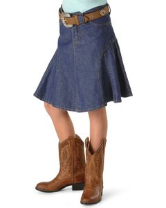 Girls' Gored Denim Skirt - 2-16, , hi-res