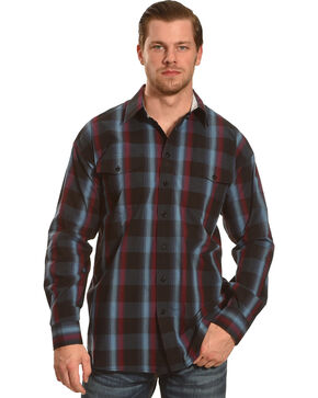 Panhandle Slim Navy and Burgundy Plaid Snap Western Shirt , Black, hi-res