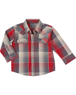 Wrangler Boys' Plaid Sawtooth Long Sleeve Shirt, Blue, hi-res
