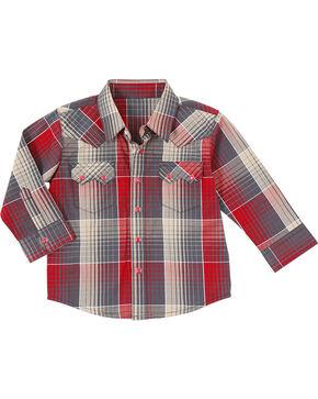 Wrangler Boys' Plaid Sawtooth Long Sleeve Shirt, Blue, hi-res
