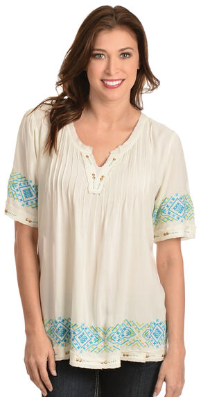 Red Ranch Women's Pleated Embroidered Shirt, Natural, hi-res