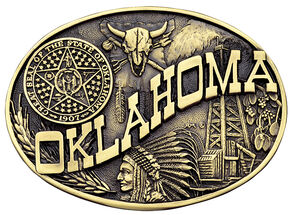 Montana Silversmiths Oklahoma State Heritage Attitude Belt Buckle, Gold, hi-res