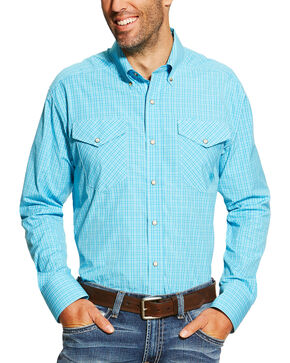 Ariat Men's Blue Brent Snap Shirt, Blue, hi-res