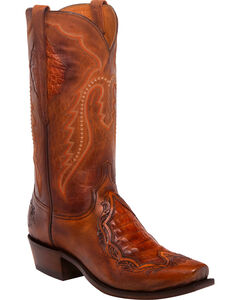 Lucchese Men's Bryson Peanut Caiman Inlay Western Boots - Square Toe, Tan, hi-res