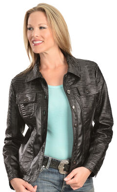 Erin London Women's Black Faux Leather Pleated Jacket, , hi-res