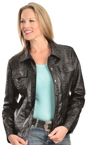 Erin London Women's Black Faux Leather Pleated Jacket, Black, hi-res