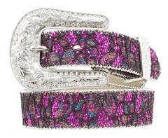 Nocona Girls' Floral Lace Sparkling Belt - 20-28, , hi-res