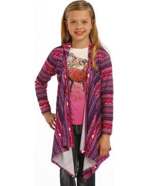 Rock & Roll Cowgirl Girls' Long Sleeve Hoodie Cardigan, Grape, hi-res