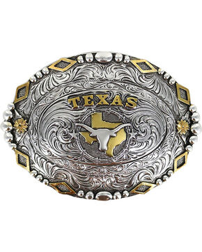 Cody James Men's Silver Oval Texas Longhorn Belt Buckle , Silver, hi-res