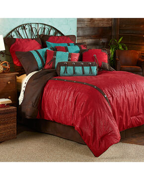 HiEnd Accents 7-Piece Super Queen Cheyenne Red Tooled Faux Leather Comforter Set, Multi, hi-res
