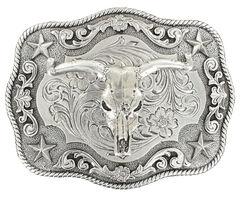 Nocona Rectangle Rope Edge Steer Skull Buckle, Silver, hi-res