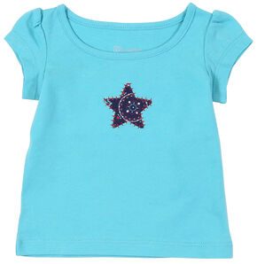 Wrangler Toddler Girls' Turquoise Star Short Sleeve Tee, Turquoise, hi-res