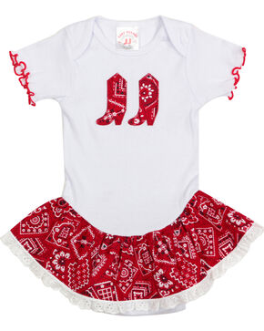 Kiddie Korral Infant Girls' Bandanna Ruffle Onesie , Red, hi-res