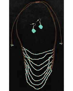 Blazin Roxx Extra Long Multi Strand Beaded Leather Cord Necklace & Earrings Set, , hi-res