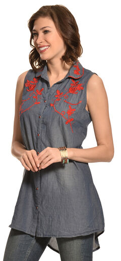 Pink Cattlelac Chambray Embroidered Sleeveless Tunic , , hi-res