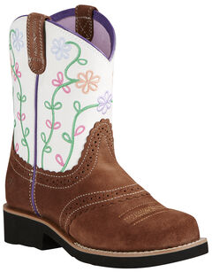 Ariat Youth Girl's Brown Fatbaby® Blossom Boots - Round Toe, Brown, hi-res