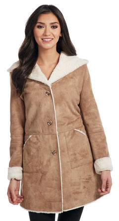 Cripple Creek Women's Button Front Faux Shearling Hooded Coat , , hi-res