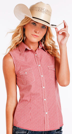 Panhandle Slim Women's Red Sleeveless Vintage Shirt , Red, hi-res