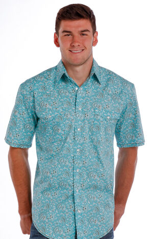 Rough Stock by Panhandle Slim Men's Turquoise Ekalaka Vintage Print Shirt, Turquoise, hi-res