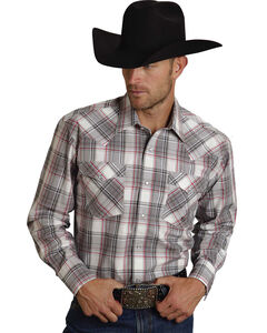 Roper Men's Amarillo Collection Red & Gray Plaid Western Shirt, , hi-res