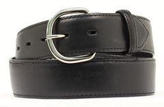 Black Leather Money Compartment Belt, , hi-res