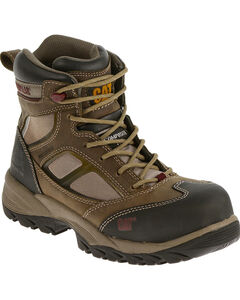 "Caterpillar Women's Taupe Shaman 6"" Waterproof Work Boots - Composite Toe , , hi-res"