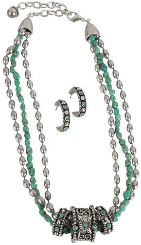 Montana Silversmiths 3-Rings Turquoise Necklace, Silver, hi-res