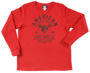 "Cowboy Hardware Boy's ""Born & Raised"" Long Sleeve T-Shirt , Red, hi-res"