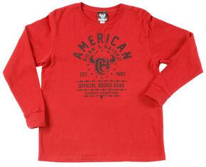 "Cowboy Hardware Boy's ""Born & Raised"" Long Sleeve T-Shirt , Red, hi-res"