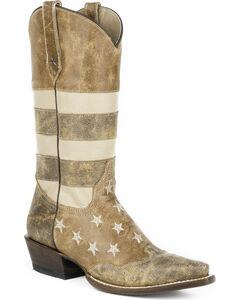 Roper Women's Brown Vintage American Flag Western Boots - Snip Toe , , hi-res