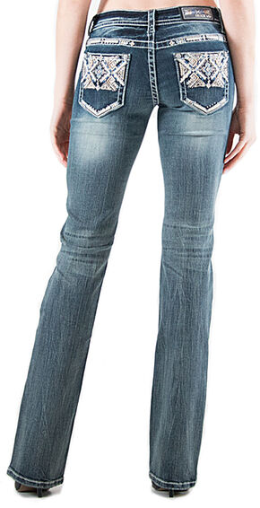 Grace in LA Light Wash Aztec Pocket Bootcut Jeans , Indigo, hi-res