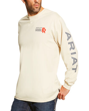Ariat Men's Sand FR Logo Crew Neck Long Sleeve Shirt - Big and Tall, Sand, hi-res
