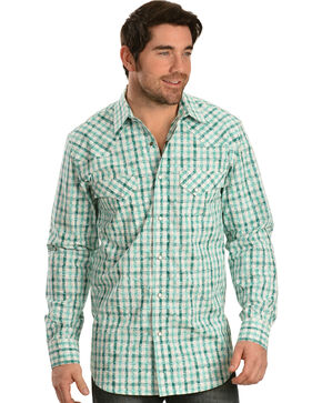 Red Ranch Green and White Plaid White Overprint Western Shirt, White, hi-res