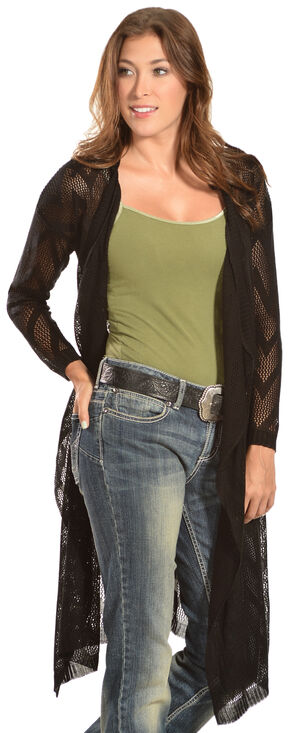 Petrol Women's Sheer Knee-Length Cardigan, Black, hi-res